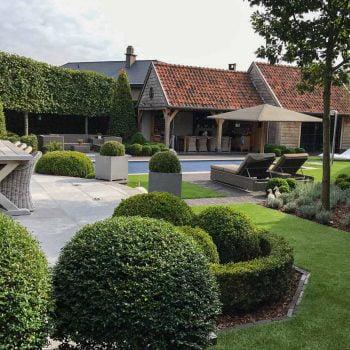 Landelijke tuin met kunstgras