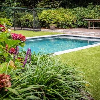 Tuin kunstgras en planten