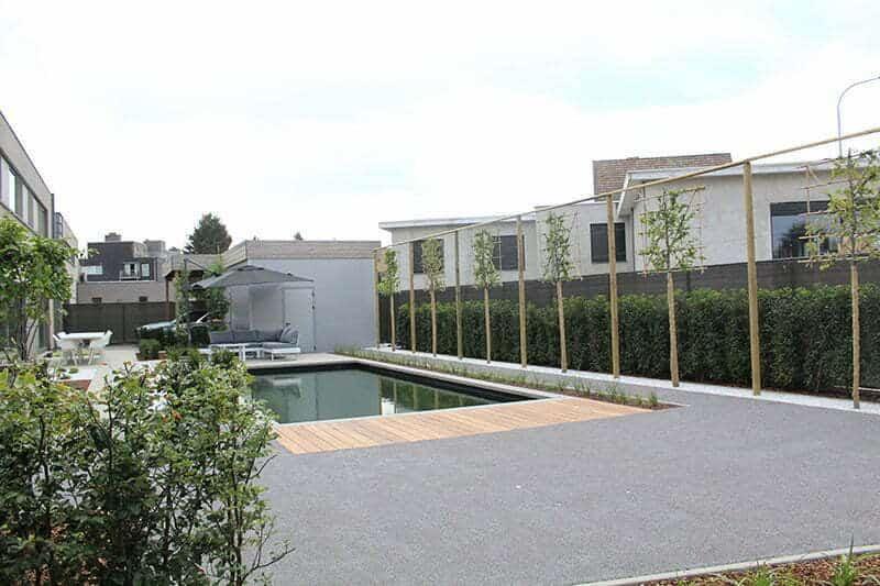 Moderne tuin met grijs kunstgras